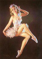 Vintage pin up girl in ballet shoes